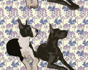 Great Dane Duo Fabric - Great Danes Resting By Dogdaze - Puppu Pet Portrait Cotton Fabric By The Yard With Spoonflower