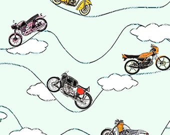 Moving Motorcycles Fabric - Freedom Motorcycles By Lucybaribeau - Motorcycles Cotton Fabric By The Yard With Spoonflower