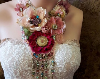 Ophelia's Flowers, fabric flower necklace, Boho statement necklace, festival wear, bead embroidery textile  jewelry, romantic necklace, lace