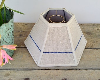 """Hurricane Lamp Shade, Grain Sack Lampshade Blue Stripe, 5""""t x 12""""b x 7"""" h, Fits over Chimney, Nice nubly texture, Handmade in VT."""