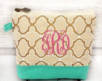 natural gold and MINT cosmetic bag , bridesmaid make-up bags, monogrammed bag, wedding bag , bridesmaid gifts