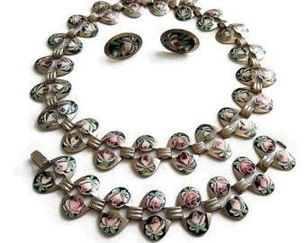 Vintage Hand Painted Enamel Pink Roses Floral Link Necklace, Bracelet and Earrings Demi Parure Set