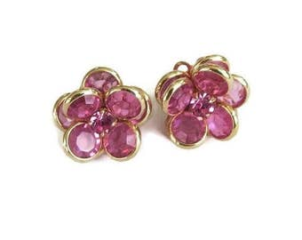 Swarovski Crystals Pink Flower Earrings Vintage with Rhinestone