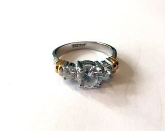 Size 7 Sterling Silver and Cubic Zirconia Ring
