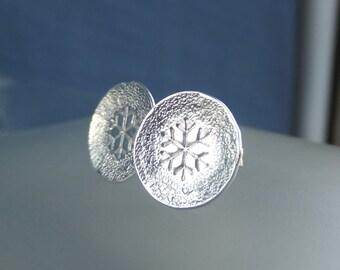 Sterling Silver Stud Earrings - TEXTURED SNOWFLAKES - Snowflake Studs - Hand Stamped Textured Metalwork Jewelry - Bright or Oxidised
