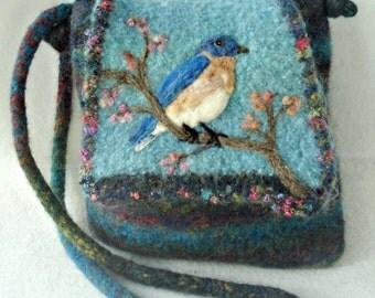 Felted Purse, Felted Handbag, Bluebird Art, Needle Felt Bird, Bird Art