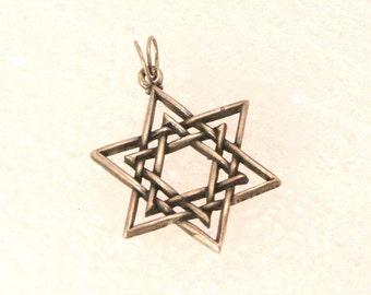 Vintage Silver Star of David Pendant Sterling 14k Hanukkah Chanukah