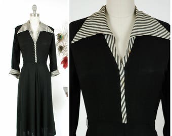 Vintage 1940s Dress - Charming Black Rayon 40s Day Dress with Bold Contrasting Black and White Striped Collar and Cuffs