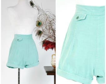 Vintage 1950s Shorts - c. 1954 High Waist  50s Pin Up Shorts with Ultra Short Inseam and Pocket Accent Sunclothes Line