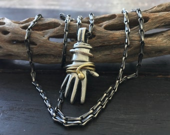 Sculpted Solid Sterling Silver Hand Pendant