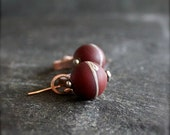 ON SALE Red Oxblood Orbit Dangle Earrings - Rustic Textured, Oxidized Copper Patina, Riveted Swing, Metalwork Jewellery