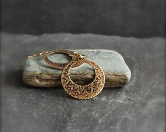 ON SALE Etched Brass Hoop Earrings - Gold Brass Dangle, Dark Oxidized Patina, Boho Jewellery