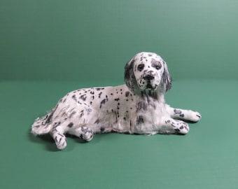 1:12 Scale Furred English Setter DOG Dollhouse Miniature OOAK