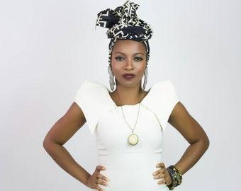 Black head wrap, Black and white head wrap, Afrocentric headwrap, African head wrap, Afro head wrap, African print head wraps, Africa wrap