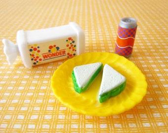 Vintage Stocking Stuffer Dollhouse Miniatures Fake Food Wonder Bread Sandwich Soda Pop Accessories for Barbie Doll