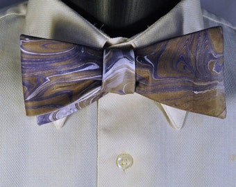 Muted Colors and Organic Design on Bow Tie with Purple and Bronze Made in Asheville, NC!! MM-15-36