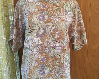 Vintage 90s Boxy Blouse with Faux Sequins and Beaded Novelty Print