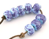 Blueberries Drops Handmade Glass Lampwork Beads (8 Count) by Pink Beach Studios - SRA (2049)