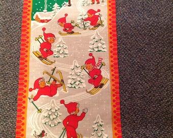 Vintage--Swedish--Scandinavian--Norwegian--Wall Hanging--Children In Red--Skiing--Signed LML