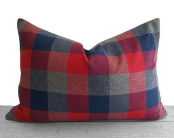 Red Buffalo Plaid Pillow, Red Grey Plaid Pillow, Red Grey Navy Pillows, Oblong Lumbar 14x20, Checked Holiday Pillow, Country Cabin Decor NEW