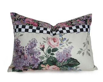 Unique Floral Pillows, Whimsical Decorative Pillows, Floral Lumbar Pillow Covers, Pink Mauve Purple Pillow, Black White Checks, 14x20 NEW