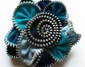 Multi colored Blue Turquoise Baby Navy and Black Floral Brooch Zipper Pin 3009