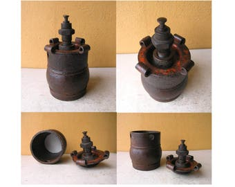 Unique Keepsake Box Lidded Box Rustic shelf art table storage industrial decor boyfriend gift steampunk wedding salvaged junk condom box