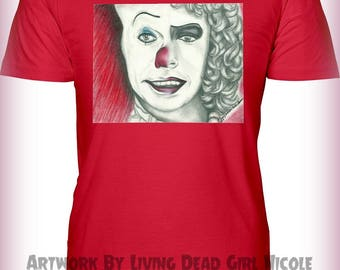 "Portrait T-Shirt : ""Penny Furter"" - Stephen King IT Pennywise Franken Furter Rocky Horror Picture Show Tim Curry"