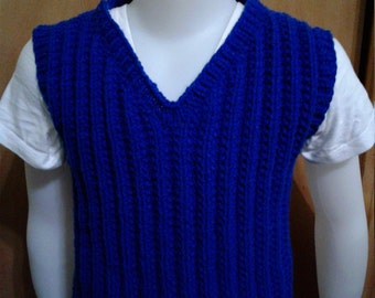 Hand Knit Child V-neck Sweater Vest, Seeded stitch, size 3-4T Royal Blue