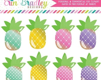 50% OFF SALE Pineapples Clipart with Polka Dots and Diamond Patterns Personal & Commercial Use Pineapple Clip Art Graphics