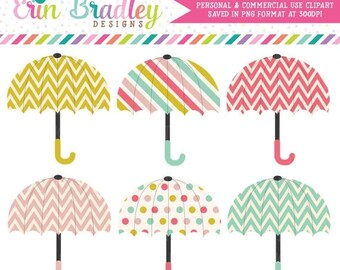 50% OFF SALE Cheerful Umbrellas Clipart Graphics Digital Shower Clip Art Personal & Commercial Use Instant Download