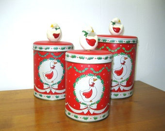 Vintage Christmas Goose Geese Holidays Kitchen Storage Tins Set