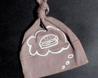 Organic Baby  Hat, Burger Baby Thought, hand screen printed