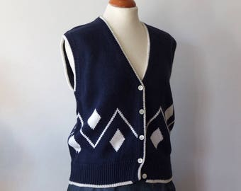 Vintage knitted cotton vest , navy blue and white buttoned knit vest, cardigan knit sweater vest, white diamond nautical summer vest bolero
