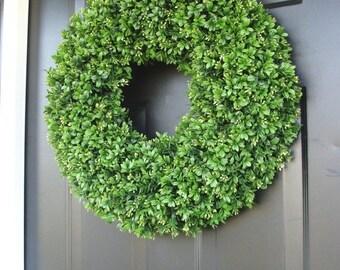 CHRISTMAS WREATH SALE Artificial Boxwood Spring Wreath, Summer Wreath, Large 20 inch Natural Green Boxwood Wreath, Door Wreath