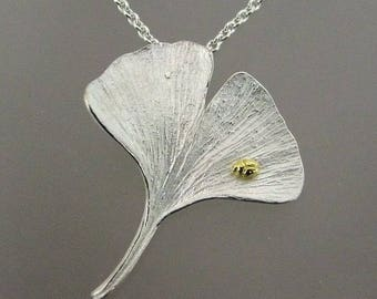 Ginkgo Leaf Necklace, Botanical Jewelry, Tiny Gold Beetle, Insect, Leaf, Flower, Pendant, Sterling Silver, 18k Gold, Made to Order