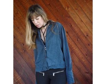 Dusty Blue l/s Striped Silk Blouse - Vintage 70s - XS/S
