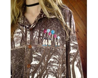 Mens Novelty Printed l/s Oxford Shirt - Vintage 70s - M