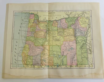 1904 Antique  Map of Oregon Encyclopedia Britannica Hammonds Geography State Map Wall Decor Cartology Map