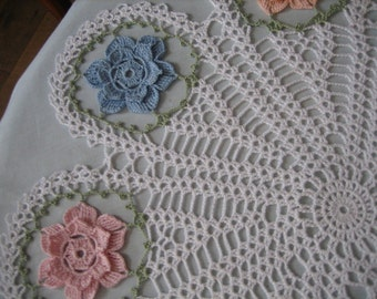 Crochet floral doly, table center,  made by Demet, pastel colors, very nice looking, ships free in the U.S. table center