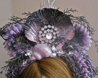 "Marilla: Mermaid Crown Headpiece Shell Headband Water Goddess Lavender Silver Black Rhinestone Jeweled ""Dark Shining Sea"" Mermaid Queen"