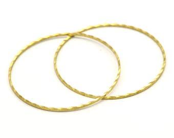 Textured Circle Brass, 10 Raw Brass Circles  (40mm) Brs 2081  A0591