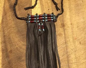 leather fringed choker