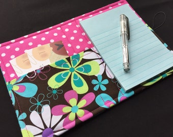 Mini List Taker, Organizer, Coupon Holder, Far Out Floral by Michael Miller, Notepad And Pen/Pencil Included