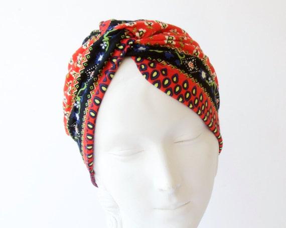 Turban Hat Women's Turban Hat Chemo Cap 1940s Hair Scarf Retro Accessory Stretch Turban Soft Packable Turban Headwrap Paisley Print