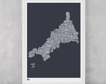 Cornwall Map, Cornwall Type Map Screen Print, Cornwall Type Map Wall Art, Cornwall Font Map, Cornwall Word Map, Cornwall Print