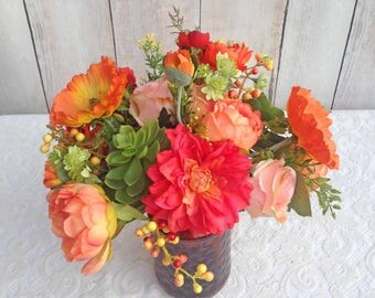 Southern Summer Garden Bouquet in Oranges, Coral and Yellow with Poppies, Roses, & Peonies....Ready to Ship