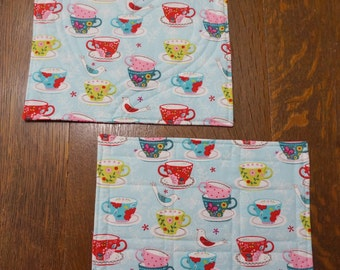 Two Coffee and Tea Cups Snack Mats or Mug Rugs Reverse to Valentines