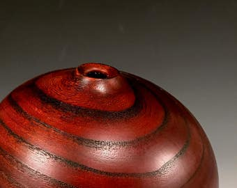 Elm Wood - Ruby Red - Handmade Home Decor - Elm Wood Vessel - Sale