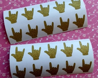 20 Gold Glitter ASL ILY Stickers for American Sign Language I Love You